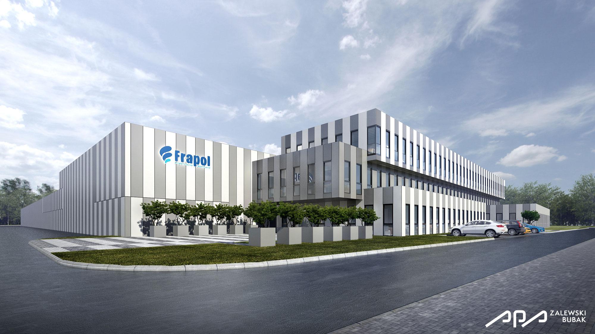 Projekt hali i biurowca firmy frapol for Production builder