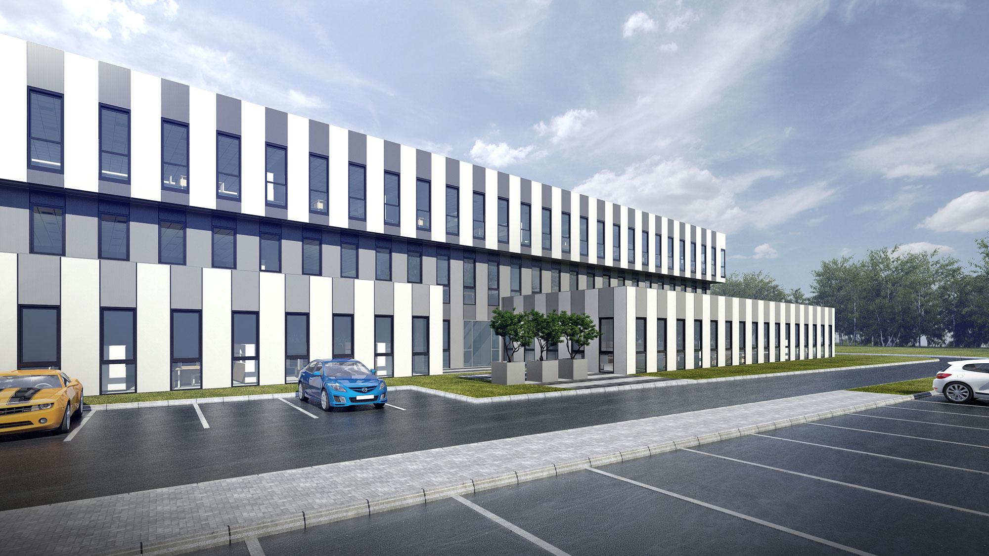 Projekt Hali Produkcyjnej Frapol - Widok od Strony Budynku Biurowego